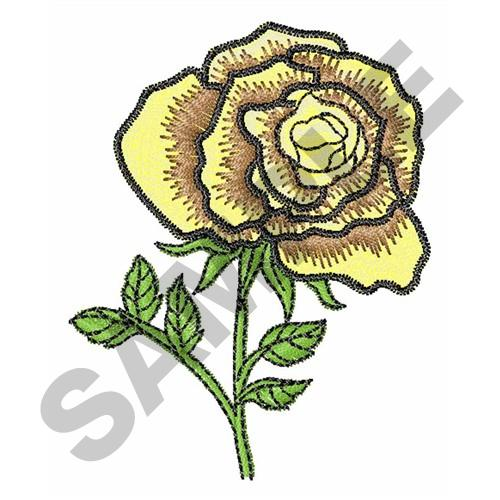 Yellow rose embroidery designs machine