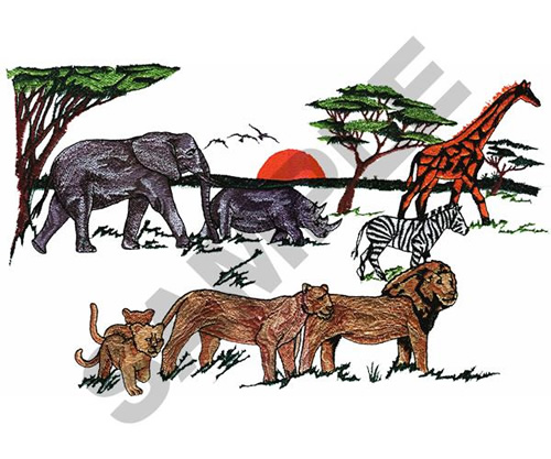 African animals embroidery designs machine
