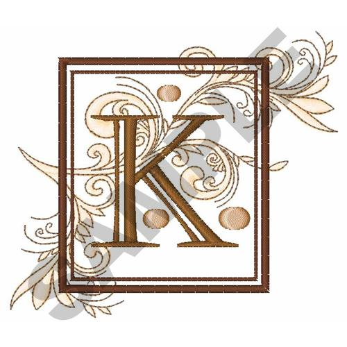 FANCY SQUARE LETTER K Embroidery Design