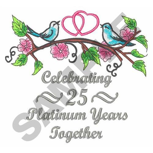 Silver wedding anniversary embroidery designs machine