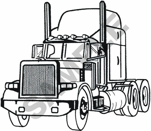 SEMI TRACTOR OUTLINE Embroidery Designs Machine Embroidery