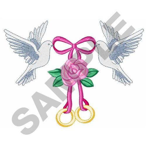 Wedding doves and rings embroidery designs machine