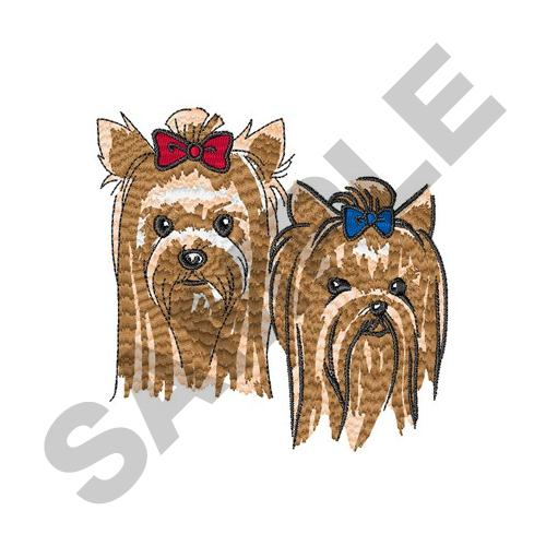 Yorkshire terrier heads embroidery designs machine