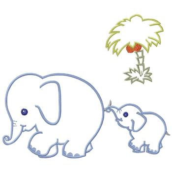 Mother And Baby Elephant Embroidery Designs Machine