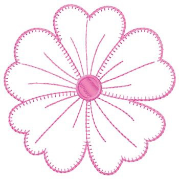 Large Pink Flower Outline Embroidery Designs Machine Embroidery