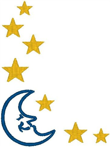 Moon and Stars Border Embroidery Designs, Machine ...