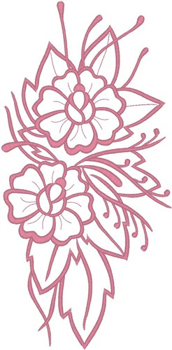 Flowers On Leaves Outline Embroidery Designs Machine