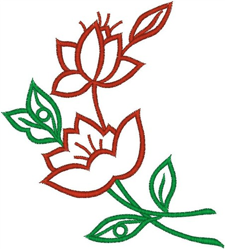 Red flower outline embroidery designs machine