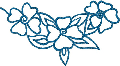 Blue flower outline embroidery designs machine