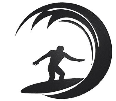 Surfer Silhouette Embroidery Design