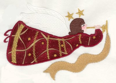 Trumpet Angel Applique Embroidery Designs Machine Embroidery