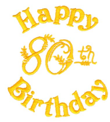 Happy 80th Birthday Embroidery Designs Machine