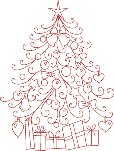 Redwork Christmas Tree Embroidery Designs Machine Embroidery