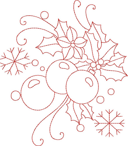 Christmas redwork embroidery designs machine