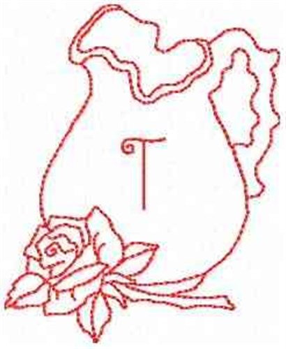 Rose pitcher letter t embroidery designs machine for Landmark design