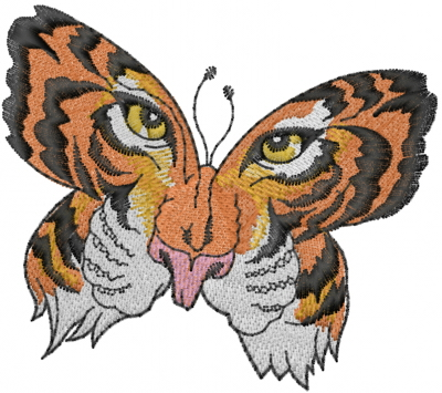 Tiger face butterfly embroidery designs machine for Tiger face in butterfly tattoo