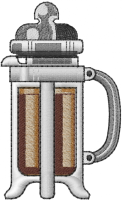 French Press Coffee Maker Demo : French Coffee Press Embroidery Designs, Machine Embroidery Designs at EmbroideryDesigns.com