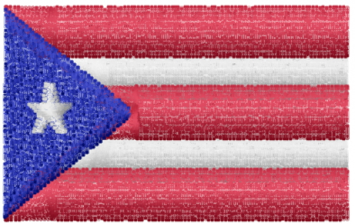 Flag Of Puerto Rico Embroidery Design