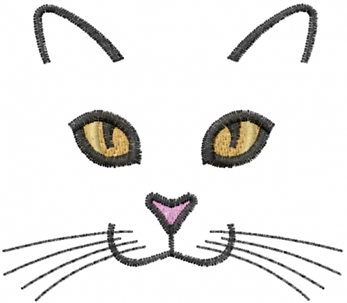 Cat face embroidery designs machine at