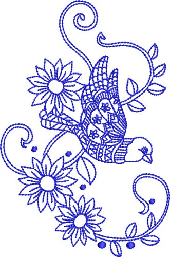 Bluework Paisley Bird Embroidery Designs Machine Embroidery Designs