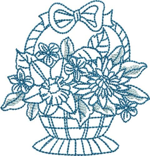 Free Flower Basket Embroidery Designs : Bluework flower basket embroidery designs machine