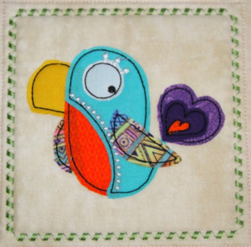 Whimsical Bird Applique Block Embroidery Designs Machine Embroidery