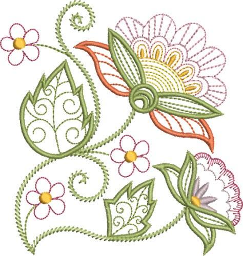 Pretty jacobean floral embroidery designs machine