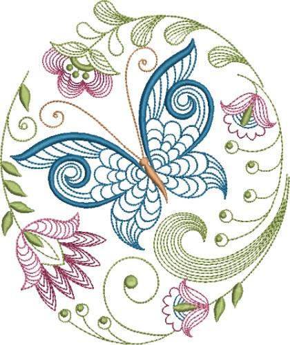 Large hoop elegant jacobean embroidery designs machine