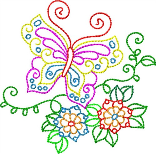 Backstitch Butterfly Embroidery Designs Machine
