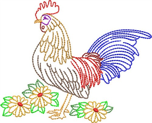 Backstitch Rooster Embroidery Designs Machine Embroidery