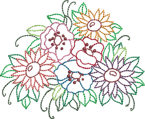 Backstitch Bouquet Embroidery Designs Machine Embroidery