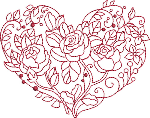 Redwork Rose Heart Embroidery Designs Machine Embroidery Designs At