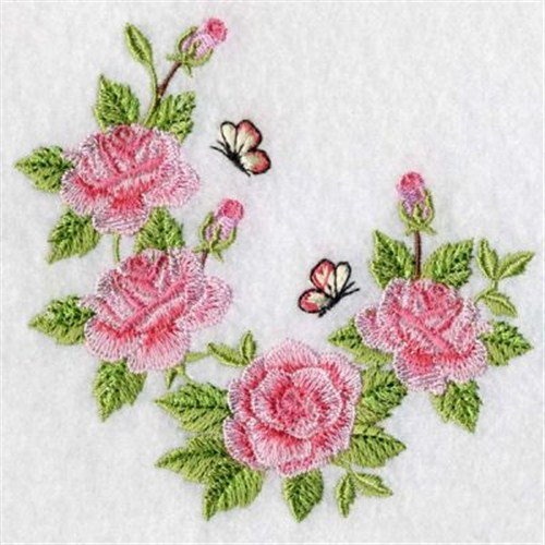 Butterfly roses embroidery designs machine