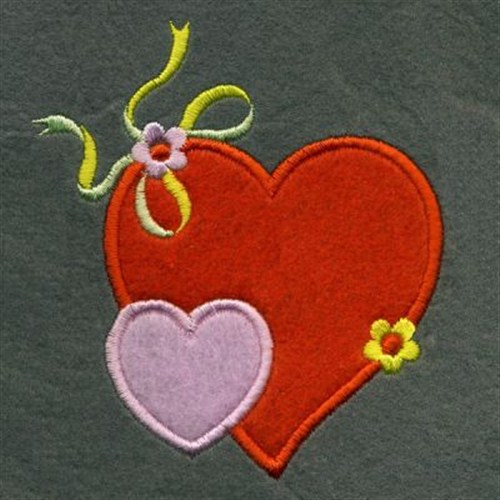 Applique heart ribbon embroidery designs machine