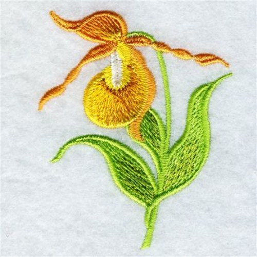 Yellow orchid embroidery designs machine