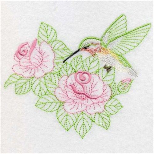 Hummingbird In Roses Embroidery Designs Machine Embroidery Designs
