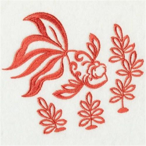 Redwork gold fish embroidery designs machine