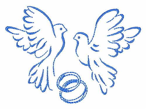 Doves and wedding rings embroidery designs machine
