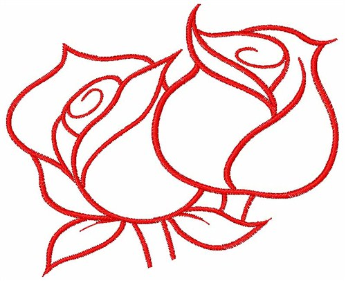 Roses outline embroidery designs machine