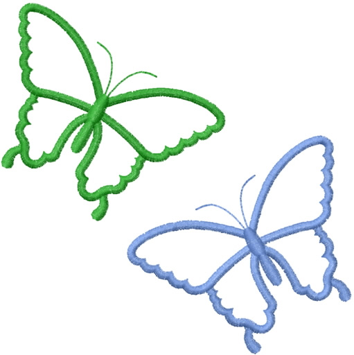 Two simple butterfly outlines embroidery designs machine