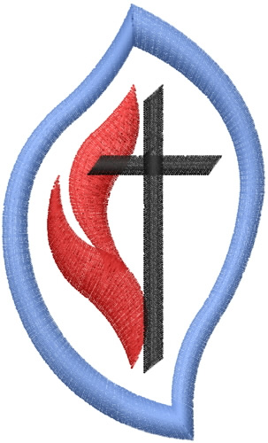 Methodist Cross And Flame Embroidery Design
