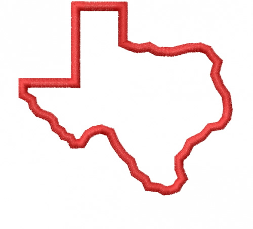 Texas outline red. State embroidery design