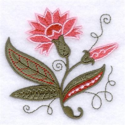 Jacobean Pink Flower Embroidery Designs Machine