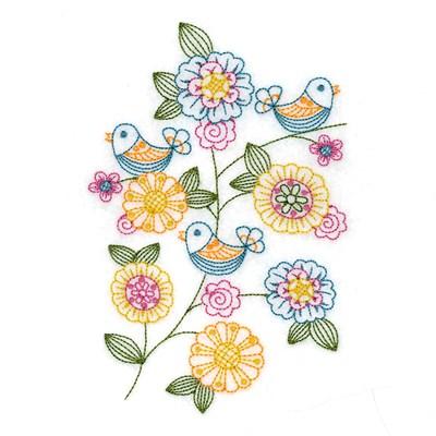 Vintage Spring Birds Embroidery Designs Machine