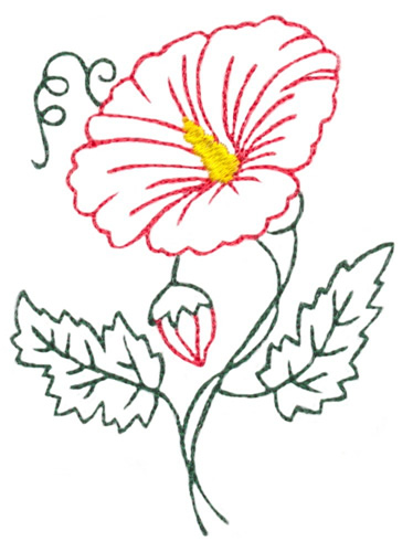 Hibiscus flower outline embroidery designs machine