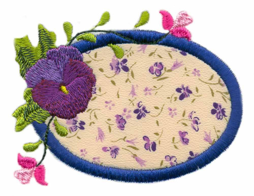 Oval pansy applique embroidery designs machine embroidery designs