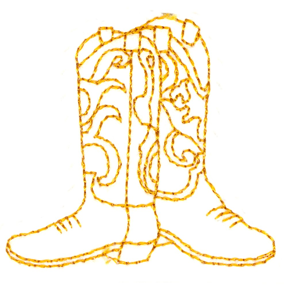 Coloring pictures of cowboy boots - Cowboy Boots Embroidery Design