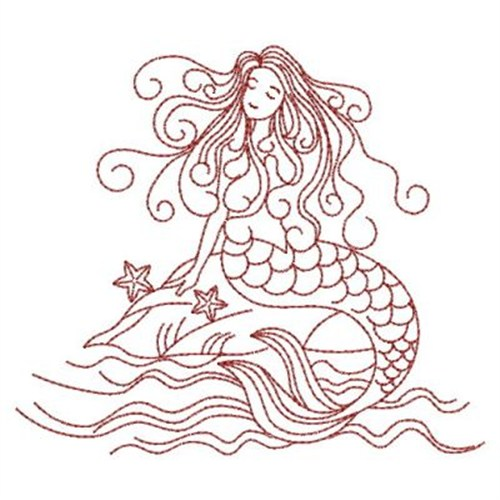 Sweet heirloom embroidery design redwork mermaid