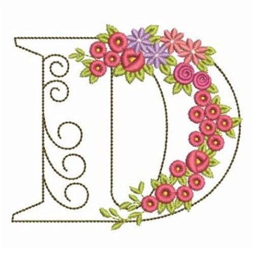 Floral alphabet d embroidery designs machine