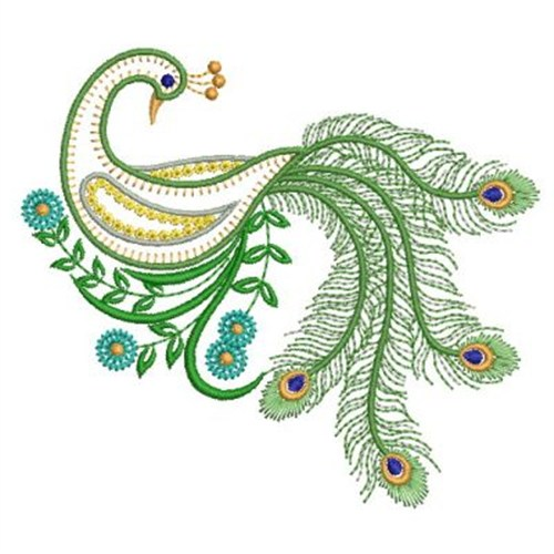 Vintage Peacock Embroidery Design